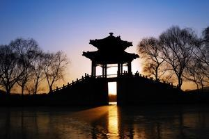 View of Pavilion in Sunset,Summer Palace of Beijing,China. by Liang Zhang