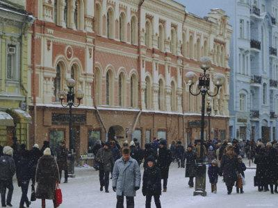 Moscow Street in Winter, Russia