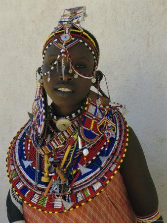 Portrait of a Young Samburu Woman in Traditional Dress and Jewellery, East Africa, Africa