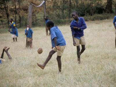 School Children Playing Football, Western Area, Kenya, East Africa, Africa