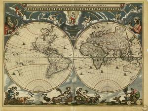17th Century World Map by Library of Congress