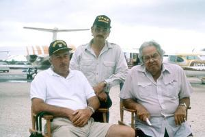 LICENCE TO KILL, 1989 directed by JOHN GLEN On the set; seated, John Glen (director) and Albert R.