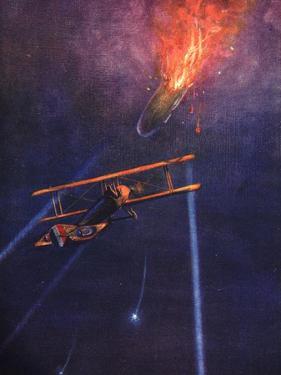 Lieutenant William Leefe Robinson Brings Down a Zeppelin at Cuffley Near Enfield