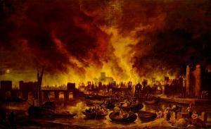 The Great Fire of London in 1666 by Lieve Verschuier
