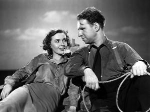 Lifeboat by Alfred Hitchcock with Mary anderson and Hume Cronyn, 1944 (b/w photo)