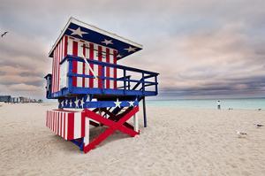 Lifeguard station on the Beach, Miami Beach, Florida, USA