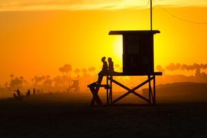 Lifeguard Tower on the beach, Newport Beach, California, USA