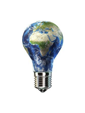 Light Bulb with Planet Earth Inside Glass, Africa and Europe View