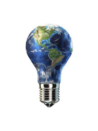 Light Bulb with Planet Earth Inside Glass, Americas View
