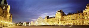 Light Illuminated in the Museum, Louvre Pyramid, Paris, France