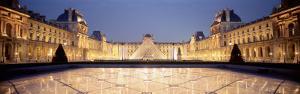 Light Illuminated in the Museum, Louvre Pyramid, Paris, France