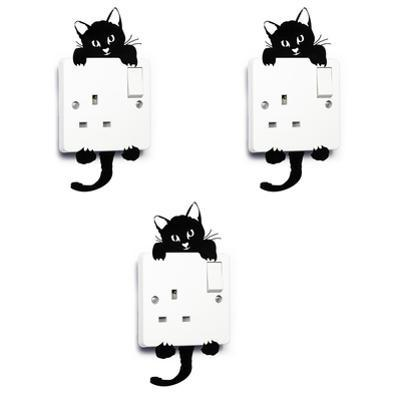 Light Switch Cat Cute Pet Wall, DIY, Home Decoration (Set of 3pcs)