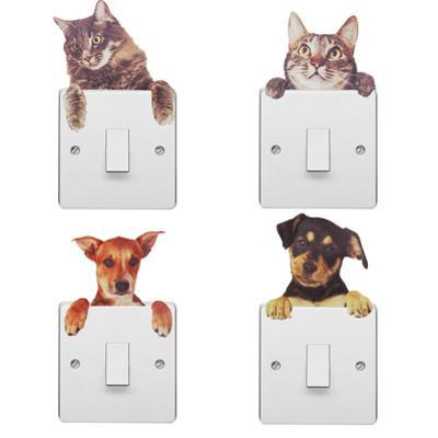 Light Switch Pet with Dog and Cat Wall, DIY, Home Decoration