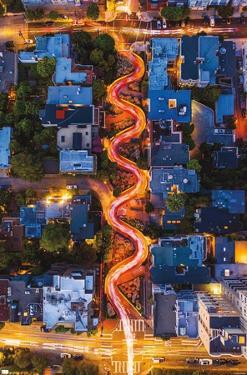 Light Trails on Lombard Street