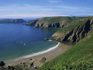 Aerial View over Beach at La Grande Greve, Sark, Channel Islands, United Kingdom, Europe by Lightfoot Jeremy