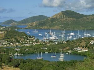 Aerial View over Falmouth Bay, with Moored Yachts, Antigua, Leeward Islands, West Indies, Caribbean by Lightfoot Jeremy
