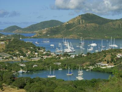 Aerial View over Falmouth Bay, with Moored Yachts, Antigua, Leeward Islands, West Indies, Caribbean