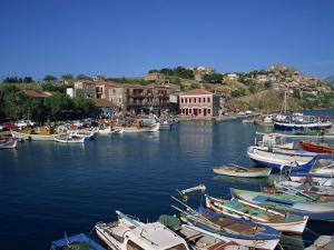 Boats Moored in Harbour at Molyvos, on Lesbos, North Aegean Islands, Greek Islands, Greece, Europe by Lightfoot Jeremy