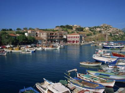Boats Moored in Harbour at Molyvos, on Lesbos, North Aegean Islands, Greek Islands, Greece, Europe