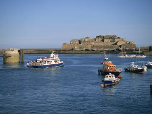 Ferry Passing Castle Cornet, St. Peter Port, Guernsey, Channel Islands, United Kingdom, Europe by Lightfoot Jeremy