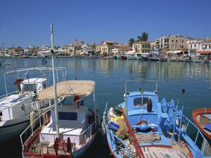 Fishing Boats Moored in Harbour, Aegina Town, Aegina, Saronic Islands, Greek Islands, Greece by Lightfoot Jeremy