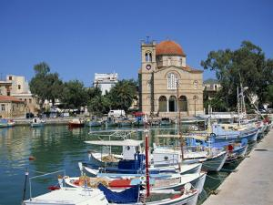 Fishing Boats Moored in Harbour and Domed Church, Aegina Town, Aegina, Saronic Islands, Greece by Lightfoot Jeremy