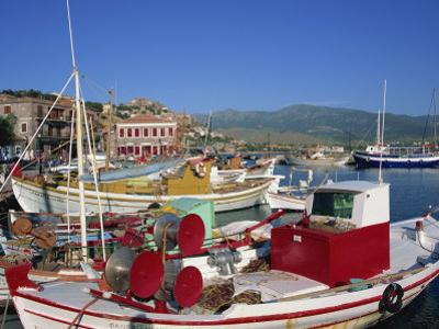 Fishing Boats Moored in Harbour at Molyvos, Lesbos, North Aegean Islands, Greek Islands, Greece