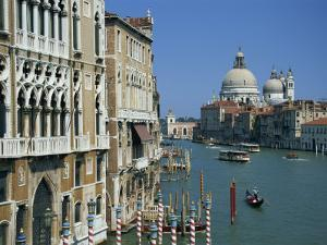 Gondolas on the Grand Canal with Santa Maria Della Salute in the Background, Venice, Veneto, Italy by Lightfoot Jeremy