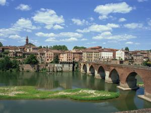 River and Bridge with the Town of Albi in the Background, Tarn Region, Midi Pyrenees, France by Lightfoot Jeremy