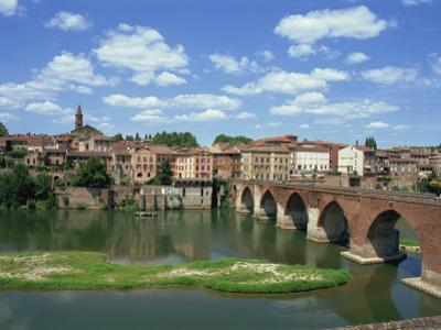 River and Bridge with the Town of Albi in the Background, Tarn Region, Midi Pyrenees, France