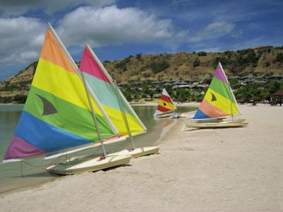 Sailing Boats on the Beach at the St. James Club, Antigua, Leeward Islands, West Indies