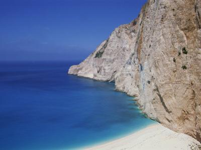 Sea and Cliffs at Shipwreck Cove on Kefalonia, Ionian Islands, Greek Islands, Greece, Europe