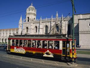 Tram in Front of the Geronimos Monastery in the Belem Area of Lisbon, Portugal, Europe by Lightfoot Jeremy
