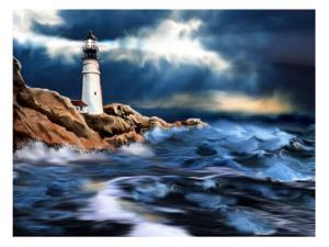 Lighthouse and Stormy Seas