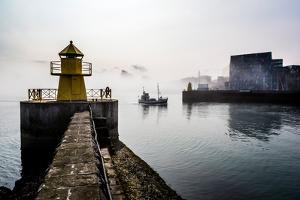 Lighthouse in Reykjavik Harbor, Harpa in Background, Reykjavik Harbor, Iceland