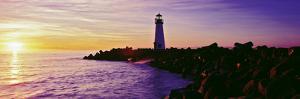 Lighthouse on the Coast at Dusk, Walton Lighthouse, Santa Cruz, California, USA