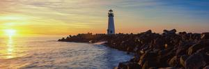 Lighthouse on the Coast at Dusk, Walton Lighthouse, Santa Cruz, California, USA