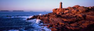 Lighthouse on the Coast, Ploumanach Lighthouse, Cote De Granit Rose, Cotes-D'Armor, Brittany, Fr...