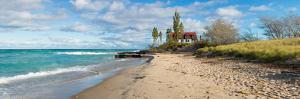 Lighthouse on the coast, Point Betsie Lighthouse, Lake Michigan, Benzie County, Frankfort, Michi...