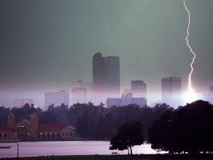 Lighting Strikes in Downtown Denver