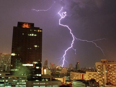 Lightning Flashes in the Sky of Bangkok