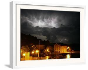 Lightning Illuminates the Sky over Prvic Luka During a Summer Storm on the Island of Prvic, Croatia