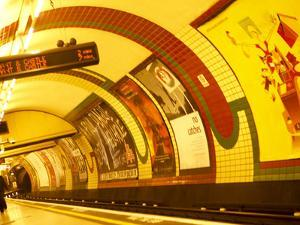 Lights and Advertisements in London Underground Train Station