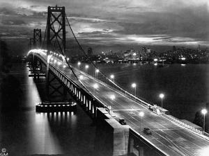 Lights Illuminate the Newly Completed San Francisco Oakland Bay Bridge