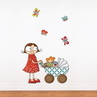 Lil? Girl with Carriage Wall Decal