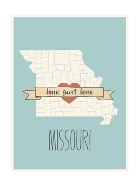 Missouri State Map, Home Sweet Home by Lila Fe