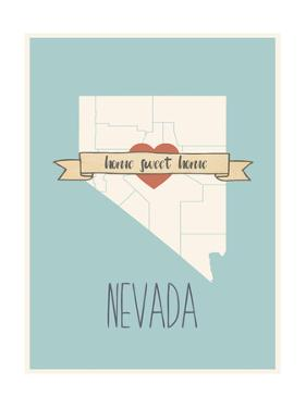 Nevada State Map, Home Sweet Home by Lila Fe