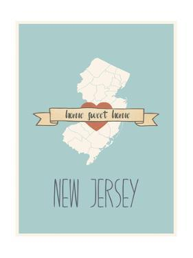 New-Jersey State Map, Home Sweet Home by Lila Fe