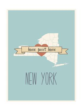 New-York State Map, Home Sweet Home by Lila Fe