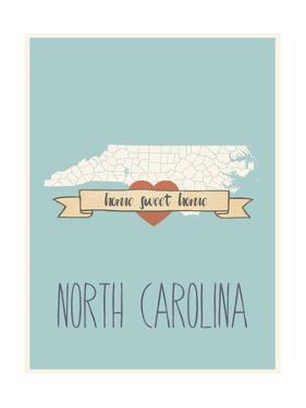 North-Carolina State Map, Home Sweet Home by Lila Fe